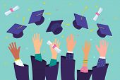 Concept Of Education. Graduates Throwing Graduation Hats In The Air. poster