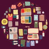 Circle Shape With Packed Luggage Items. poster