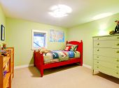 Green Boys Kids Bedroom With Red Bed.