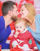 Family Celebrate Their Love. Romantic Couple In Love And Baby Girl. Valentines Day Concept. Together poster