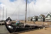 Dutch village marken with harbor and old boats