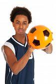 Black basketball player with orange ball