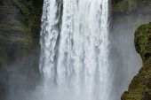 Close-uo of Skogafoss waterfall in Iceland, Europe. poster