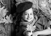Knitted Accessory Fashion Detail. Kid Girl Bright Soft Knitted Hat Beret. Autumn Fashion Knitted Acc poster