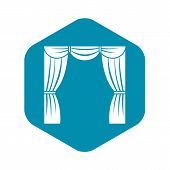 Curtain On Stage Icon. Simple Illustration Of Curtain On Stage Vector Icon For Web poster