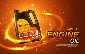 Car Engine Oil, Automobile Motor Lubricant Poster. Vector Premium Engine Oil Advertisement With Gold poster