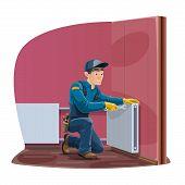 Radiator Repair, Home Heating Convector Installation Service. Vector Worker Man Or Repairman In Unif poster