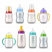 Baby Milk Bottles 3d Mockup Templates. Vector Realistic Baby Feeding Bottles With Cup Caps, Pacifier poster