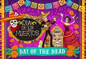 Day Of Dead, Dia De Los Muertos Fiesta, Skeleton In Mexican Costumes And Sombrero, Play Music And Da poster