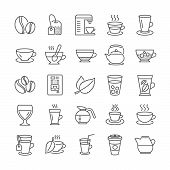 Coffee And Tea Line Icons. Set Of Juice With Ice, Cappuccino And Latte Coffee Cup Icons. Teapot, Cof poster