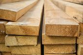 Stacked Lumber. Folded Wood.closeup Wooden Boards.the Surface Of The End Of The Board.lots Of Planks poster