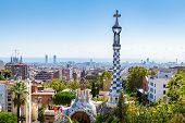 Aerial View On Barcelona City With Iconic Tower Of Park Guell poster