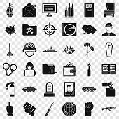 Army Icons Set. Simple Style Of 36 Army Icons For Web For Any Design poster