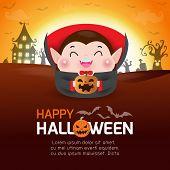 Happy Halloween Poster, Cute Little Dracula Vampire Holding Pumpkin In The Moonlight, Halloween Bann poster