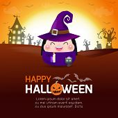 Happy Halloween Poster, Cute Little Witch And Black Cat In The Moonlight, Halloween Banner, Hallowee poster