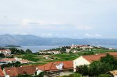 A View An Old Croatian Village And Sprawling Wine Vineyard Growing The Local Grk Grapes With The Sma poster