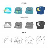 Vector Design Of Weather And Climate Icon. Set Of Weather And Cloud Stock Vector Illustration. poster