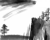 Watercolor And Ink Illustration Of Chinese Landscape Trees And Cloudy Sky. Art In Style Sumi-e, U-si poster