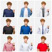 Collage of young man wearing different looks over isolated white background smiling with happy face  poster