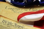 Constitution of the United States and American Flag, We The People...