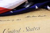 stock photo of preamble  - Preamble to the Constitution of the United States and American Flag