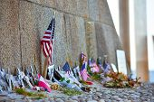 United States And Canadian Flags, Flowers And Objects In Memory Of Fallen In Normandy Landing. Omaha poster