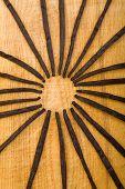 Vainas de canilla surtidos en círculo en la tabla de cortar de madera