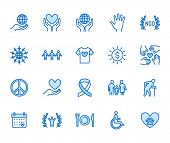 Charity Flat Line Icons Set. Donation, Nonprofit Organization, Ngo, Giving Help Vector Illustrations poster