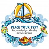 Beautiful summer mood frame featuring sea world, curly blue waves, bright sun, sail boat, goldfish,