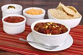 Taco Soup With Assorted Condiments