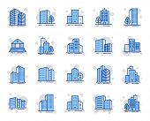Buildings Line Icons. Bank, Hotel, Courthouse. City, Real Estate, Architecture Buildings Icons. Hosp poster
