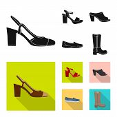 Vector Illustration Of Footwear And Woman Sign. Collection Of Footwear And Foot Stock Vector Illustr poster