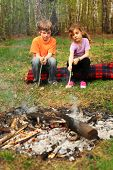 Two children sit around campfire and poke by sticks into ashes