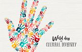 Cultural Diversity Day Illustration Of Colorful Human Hand Print Shape For Social Support And Unity. poster