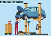 Man Worker Change Oil In Car. Oil Chang. Service Station. Auto Service. Open Hood. Automotive Lift.  poster
