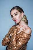 Beautiful Fashion Woman With Jewelry. Fashionable Jewelry, Earrings. Beautiful Model Girl With Manic poster