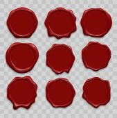 Stamp Wax Seals Vector Set. Red Sealing Wax Stamps, Realistic Isolated Labels On Transparent Backgro poster