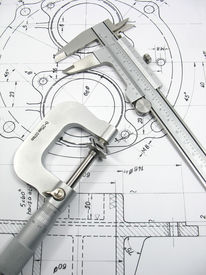 stock photo of mechanical drawing  - Engineering tools on technical drawing - JPG