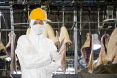 Industrial butcher posing with two filleting knives, wearing protective and hygienic clothing, such