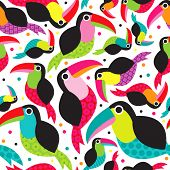 stock photo of toucan  - Seamless exotic brazil toucan bird background pattern in vector - JPG