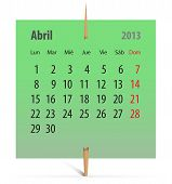 Calendario abril 2013 en Español
