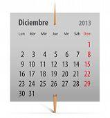 Calendario diciembre 2013 en Español