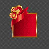 Valentines illustration with golden luxury ornate frame with hearts and ribbon
