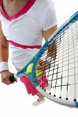 Close-up of woman holding  racquet
