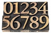 ten  numerals from 0 to 9 in vintage wood letterpress blocks stained by black ink, isolated on white