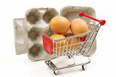 eggs box and shopping trolley