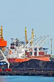 pic of coal barge  - Cargo crane ship freight traine and coal in port - JPG