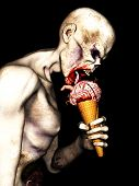 image of licking  - Zombie Brain Cream Cone - An angry undead zombie licking a Brain Cream Cone with brains worms a finger and blood on an ice cream cone.
