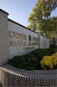 ANNAPOLIS, MD-OCT 21: The entrance to the US Naval Academy in downtown Annapolis on October 21, 2012