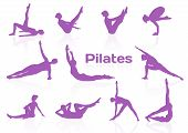 Pilates poses in violet silhouettes